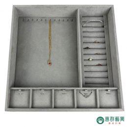 客製灰色麂皮首飾盒